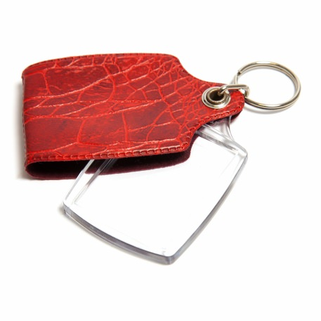 A1 Rectangular Blank Plastic Photo Insert Keyring with Red Cover - 45 x 35mm Thumbnail