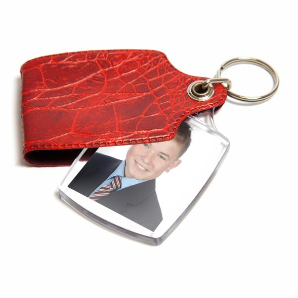 A1 Rectangular Blank Plastic Photo Insert Keyring with Red Cover - 45 x 35mm