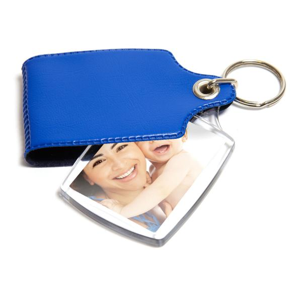 A2 Rectangular Blank Plastic Photo Insert Keyring with Mixed Cover - 45 x 35mm