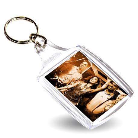 A4 Rectangular Blank Plastic Photo Insert Keyring - 45 x 35mm