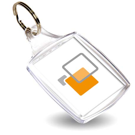 A5 Rectangular Blank Plastic Photo Insert Keyring - 45 x 35mm Thumbnail