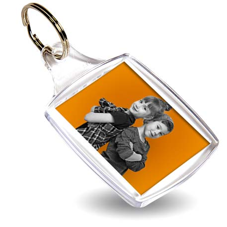 A5 Rectangular Blank Plastic Photo Insert Keyring - 45 x 35mm