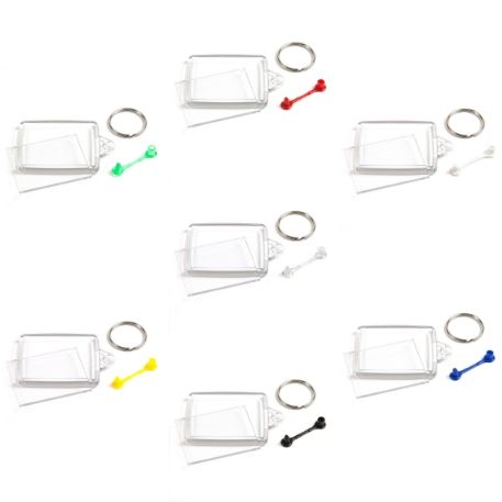 A502 Rectangular Blank Plastic Photo Insert Keyring with Mixed Coloured Connectors - 45 x 35mm Thumbnail