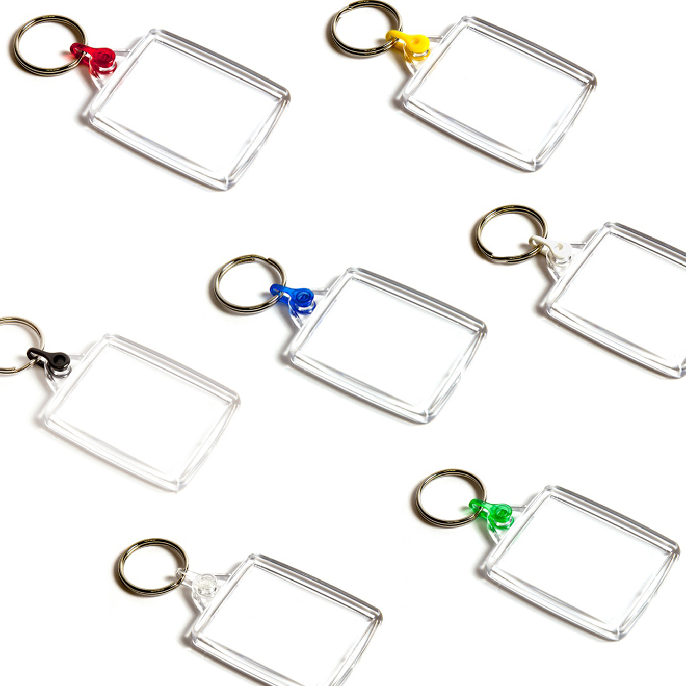 A502 Rectangular Blank Plastic Photo Insert Keyring with Mixed Coloured Connectors - 45 x 35mm