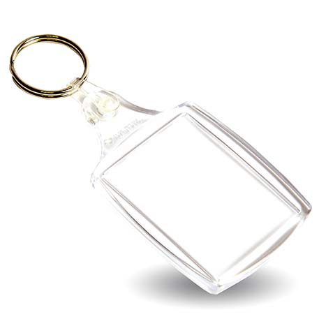 A6 Rectangular Blank Plastic Photo Insert Keyring - 45 x 35mm Thumbnail