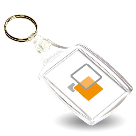 A6 Rectangular Blank Plastic Photo Insert Keyring - 45 x 35mm