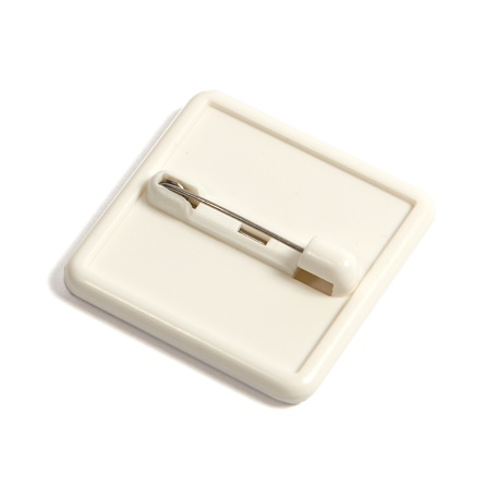25mm Square White Blank Plastic Pin Badge (BB2C-BADGE)