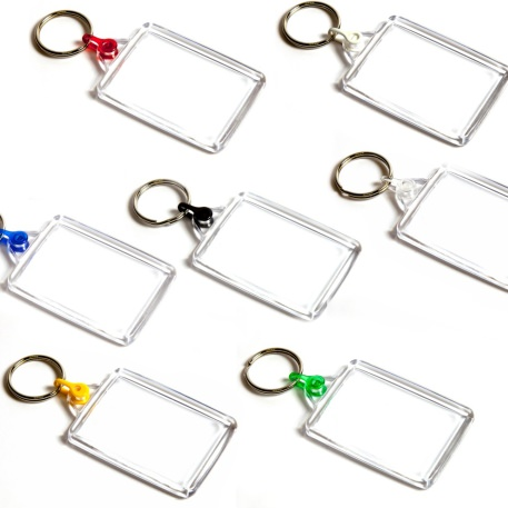 C102 Rectangular Blank Plastic Photo Insert Keyring with Mixed Coloured Connectors - 50 x 35mm