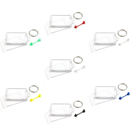 C102-CS Rectangular Blank Cross Stitch Insert Keyring with Mixed Coloured Connectors - 50 x 35mm Thumbnail