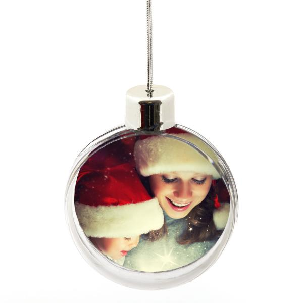 80mm Round (3 inch) Blank Plastic Clear Bauble with Silver Cap (CB01-CLEAR)
