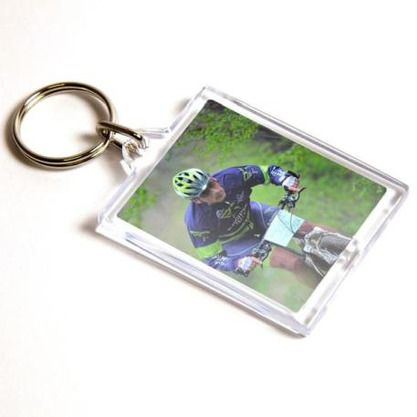E1 Rectangular Blank Plastic Photo Insert Keyring - 45 x 35mm