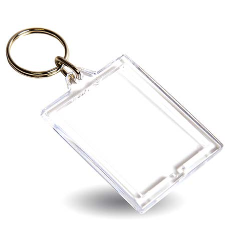 E1 Rectangular Blank Plastic Photo Insert Keyring - 45 x 35mm Thumbnail