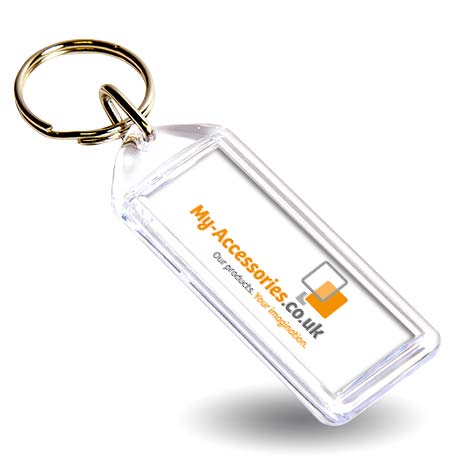 F1 Rectangular Blank Plastic Photo Insert Keyring - 50 x 20mm Thumbnail