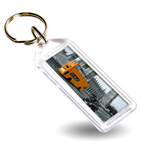F1 Rectangular Blank Plastic Photo Insert Keyring - 50 x 20mm