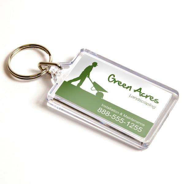 G1 Rectangular Blank Plastic Photo Insert Keyring - 50 x 30mm