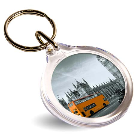 I1 Round Blank Plastic Photo Insert Keyring - 33mm