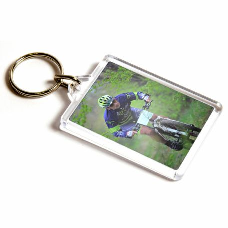 C1 Rectangular Blank Plastic Photo Insert Keyring - 50 x 35mm