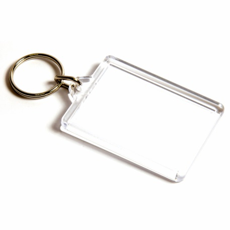 C1 Rectangular Blank Plastic Photo Insert Keyring - 50 x 35mm Thumbnail