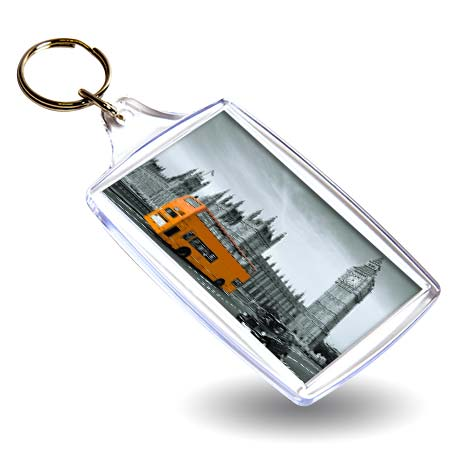 L4 Rectangular Blank Plastic Photo Insert Keyring - 70 x 45mm