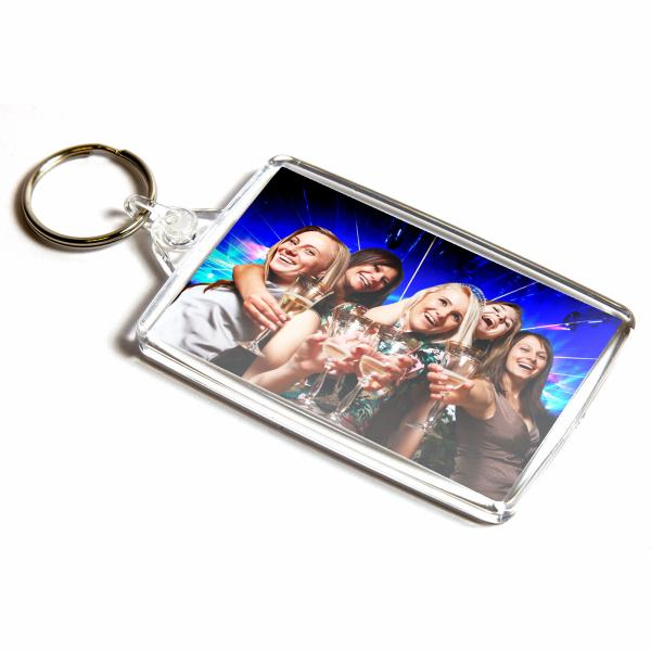 L402 Rectangular Blank Plastic Photo Insert Keyring - 70 x 45mm Thumbnail