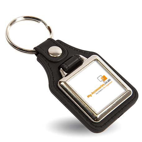 MD10 Square Blank Medallion PU Leather Photo Insert Keyring - 25mm