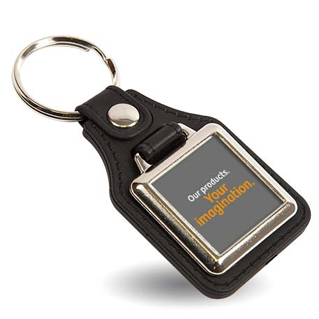 MD10 Square Blank Medallion PU Leather Photo Insert Keyring - 25mm Thumbnail