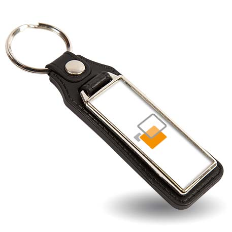 MD18 Rectangular Blank Medallion PU Leather Photo Insert Keyring - 50 x 18mm Thumbnail