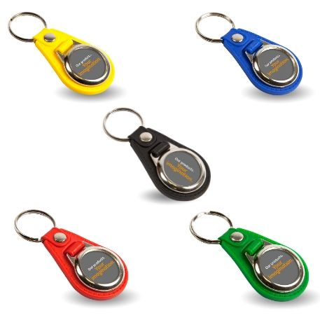 MD25 Round Blank Medallion PU Leather Photo Insert Keyring in Mixed Colours - 25mm