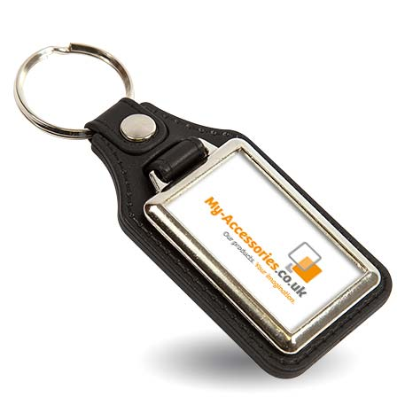 MD40 Rectangular Blank Medallion PU Leather Photo Insert Keyring - 40 x 25mm Thumbnail