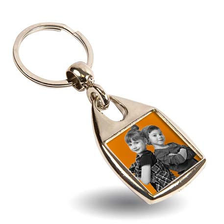 MF-25D Square Blank Metal Photo Insert Keyring - 25mm