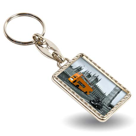 MG-40D Rectangular Blank Metal Photo Insert Keyring - 40 x 25mm