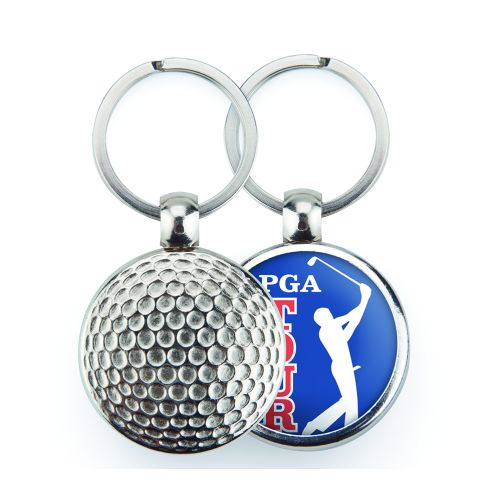 MGF Golf Round Blank Metal Photo Insert Keyring - 30mm