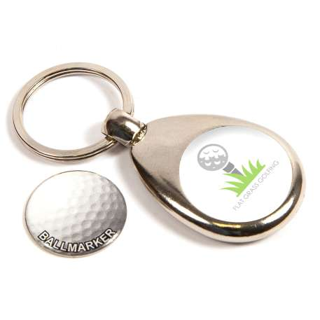 MH-GOLF Golf Round Blank Metal Photo Insert Keyring with Ball Marker - 25mm