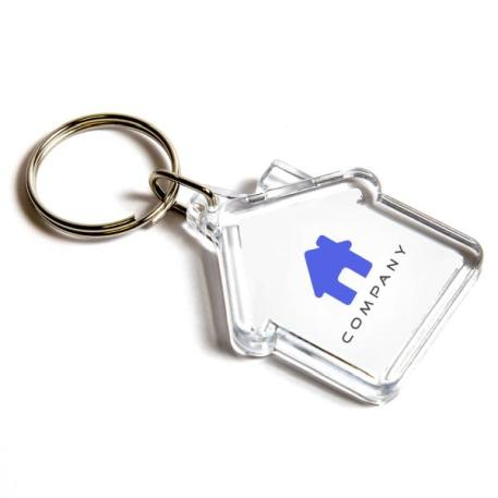 Mini House Shaped Blank Plastic Photo Insert Keyring - 35 x 33mm