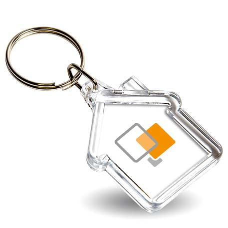 Mini House Shaped Blank Plastic Photo Insert Keyring - 35 x 33mm Thumbnail