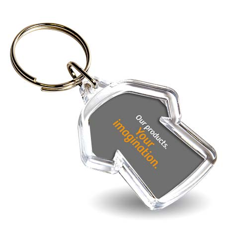 Mini Shirt Shaped Blank Plastic Photo Insert Keyring - 35 x 34mm Thumbnail