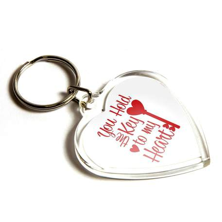 Mini Heart Shaped Blank Plastic Photo Insert Keyring - 40 x 38mm