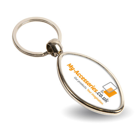 MRB Rugby Shaped Oval Blank Metal Photo Insert Keyring - 33 x 24mm Thumbnail