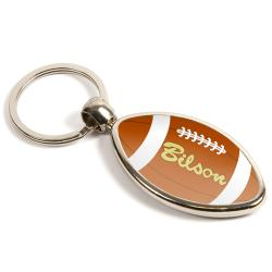 MRB Rugby Shaped Oval Blank Metal Photo Insert Keyring - 33 x 24mm