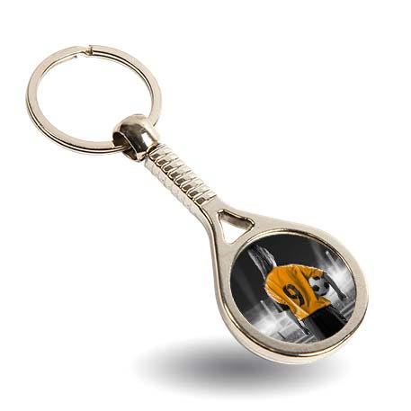 MTN Tennis Racket Round Blank Metal Photo Insert Keyring - 25mm
