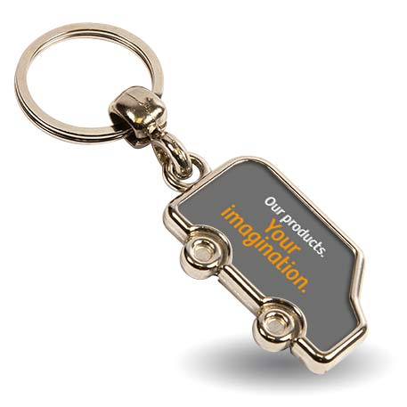 MV-N Van Shaped Blank Metal Photo Insert Keyring - 36 x 22mm