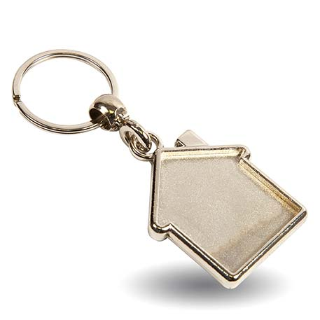 MY-D House Shaped Blank Metal Photo Insert Keyring - 35 x 33mm Thumbnail