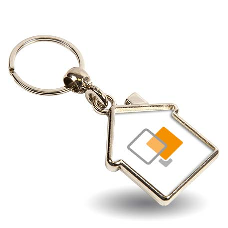 MY-D House Shaped Blank Metal Photo Insert Keyring - 35 x 33mm