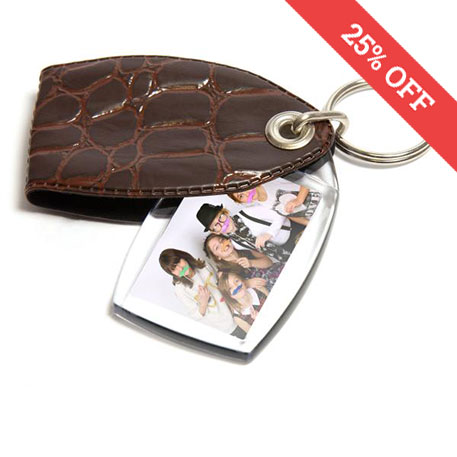 P1 Rectangular Blank Plastic Photo Insert Keyring with Brown Cover - 35 x 24mm