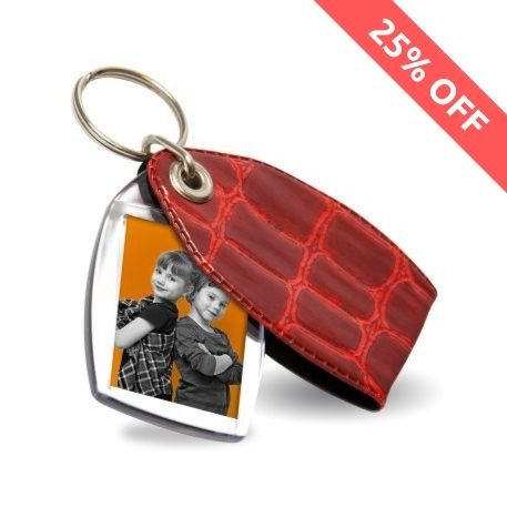 P1 Rectangular Blank Plastic Photo Insert Keyring with Red Cover - 35 x 24mm