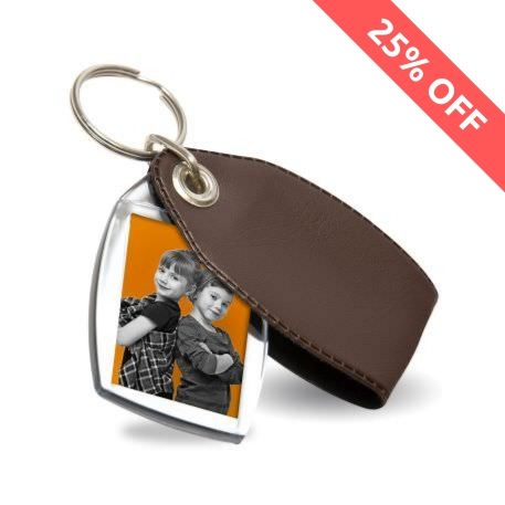 P2 Rectangular Blank Plastic Photo Insert Keyring with Brown Cover - 35 x 24mm