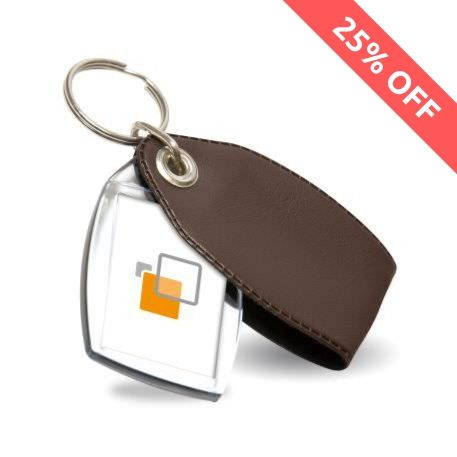P2 Rectangular Blank Plastic Photo Insert Keyring with Brown Cover - 35 x 24mm Thumbnail