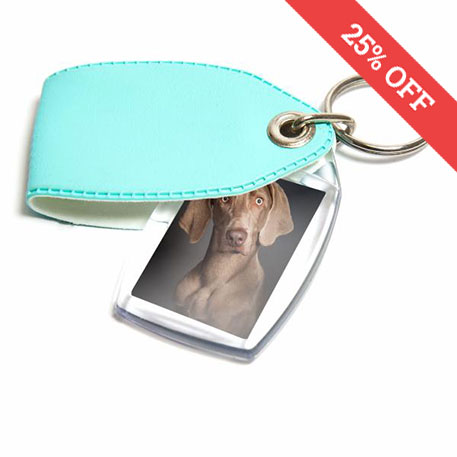 P2 Rectangular Blank Plastic Photo Insert Keyring with Mint Cover - 35 x 24mm