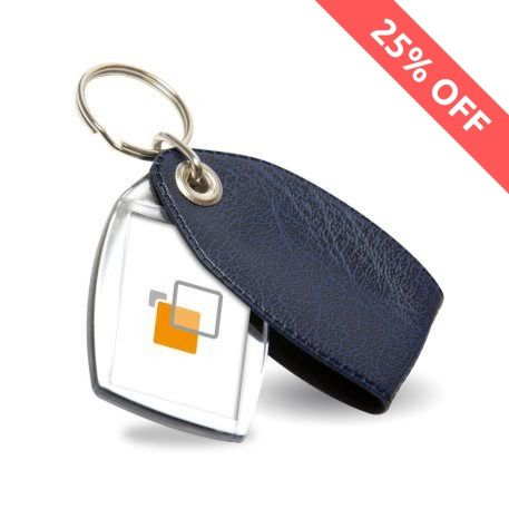 P2 Rectangular Blank Plastic Photo Insert Keyring with Pattern Blue Cover - 35 x 24mm Thumbnail