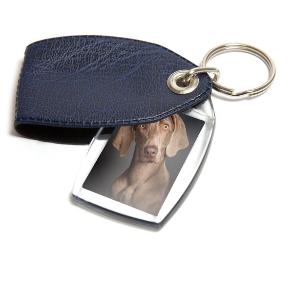 P2 Rectangular Blank Plastic Photo Insert Keyring with Pattern Blue Cover - 35 x 24mm